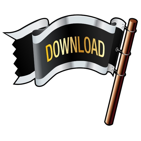 torrent: Download e-commerce icon on black, silver, and gold flag good for use on websites, in print, or on promotional materials