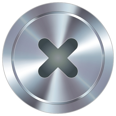 X or close icon on round stainless steel modern industrial button suitable for use as a website accent, on promotional materials, or in advertisements  Vettoriali
