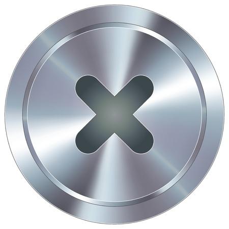 X of in de buurt pictogram op ronde roestvrij staal moderne industriële knop geschikt voor gebruik als een website accent, op promotiemateriaal, of in de reclame