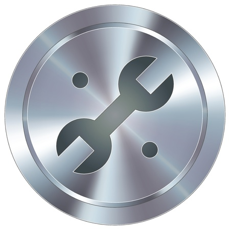 Wrench or repair icon on round stainless steel modern industrial button Stock Vector - 14666070