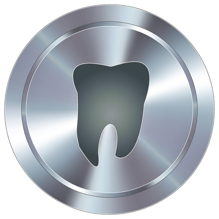 Tooth or dentist icon on round stainless steel modern industrial button
