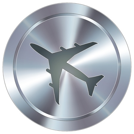 Airplane or airport icon on round stainless steel modern industrial button  Stock Vector - 14666080