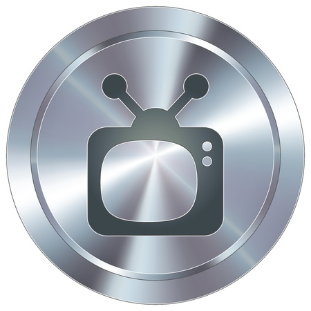 stainless: Television icon on round stainless steel modern industrial button