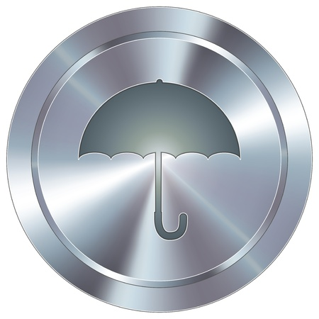Umbrella or protection icon on round stainless steel modern industrial button Illustration