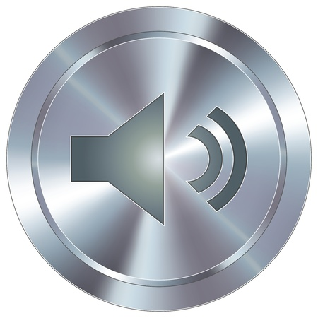 video player: Volume or mute icon on round stainless steel modern industrial button Illustration