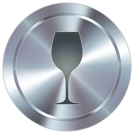 chrome button: Wine glass icon on round stainless steel modern industrial button