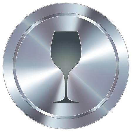 steel bar: Wine glass icon on round stainless steel modern industrial button