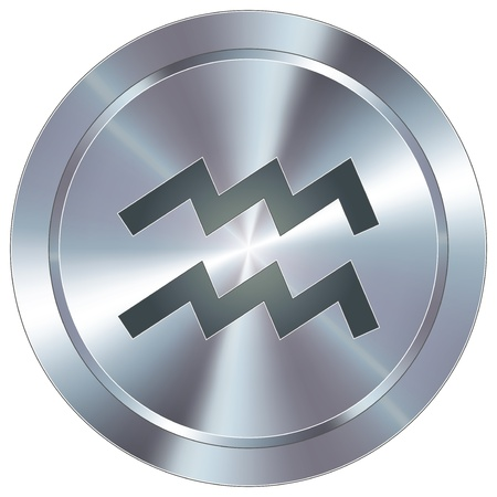 Aquarius icon on round stainless steel modern industrial button  Vector