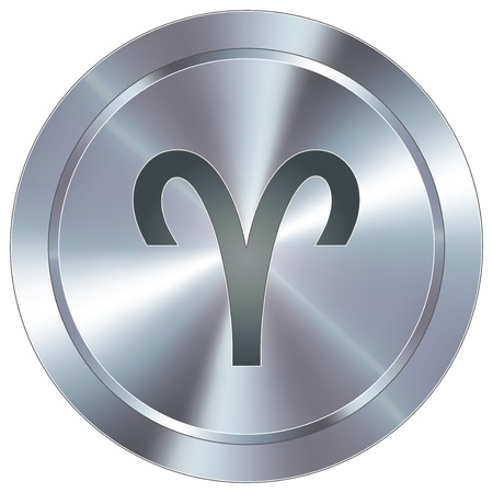 Aries icon on round stainless steel modern industrial button  Vector