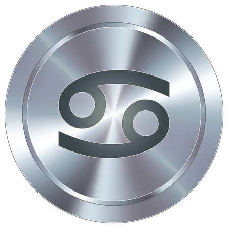 stainless: Cancer icon on round stainless steel modern industrial button  Illustration