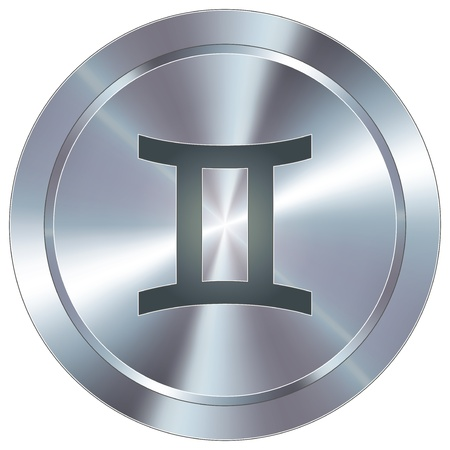 Gemini icon on round stainless steel modern industrial button  Stock Vector - 14666069