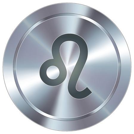 Leo icon on round stainless steel modern industrial button  일러스트