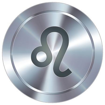 Leo icon on round stainless steel modern industrial button  Vector