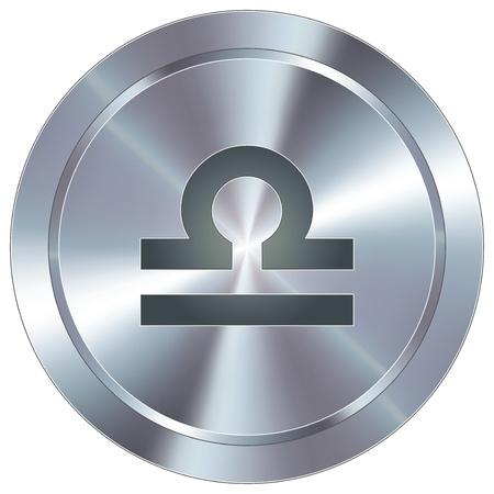 Libra icon on round stainless steel modern industrial button