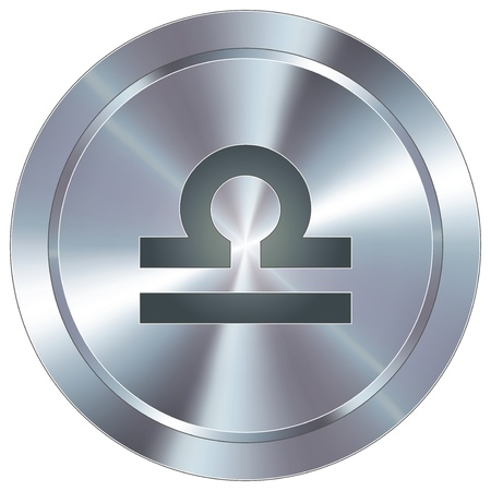 Libra icon on round stainless steel modern industrial button  Vector