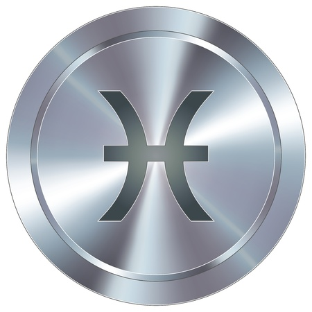 Pisces icon on round stainless steel modern industrial button  Vector