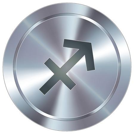 Sagittarius icon on round stainless steel modern industrial button  Stock Vector - 14666073