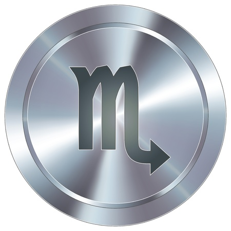stainless: Scorpio icon on round stainless steel modern industrial button