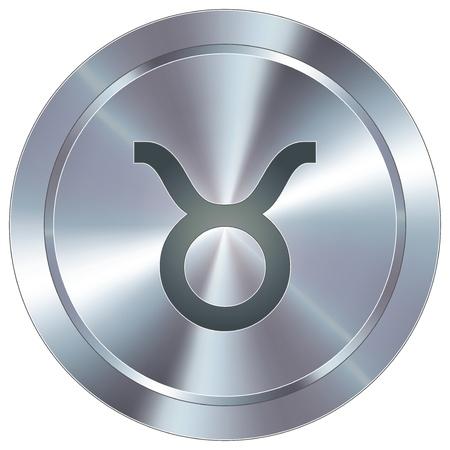 Stier pictogram op ronde roestvrij staal moderne industriële knop Stock Illustratie