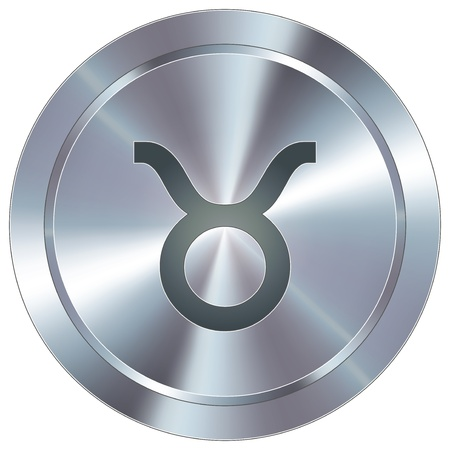 chrome: Taurus icon on round stainless steel modern industrial button  Illustration