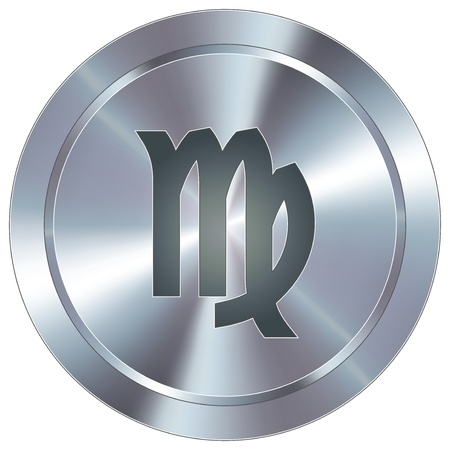 Virgo icon on round stainless steel modern industrial button  Vector