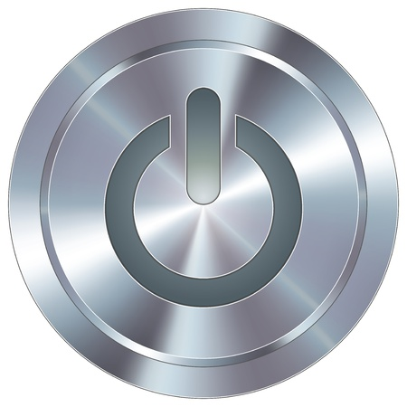 chrome: Computer power icon on round stainless steel modern industrial button
