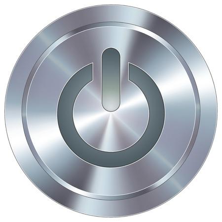 zasilania: Ikona zasilania komputera na okrągłym ze stali nierdzewnej nowoczesny przycisk przemysłowej Ilustracja