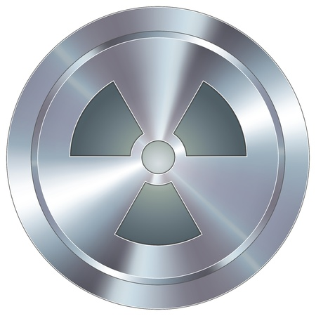 Icono de advertencia radiactivo en el botón redondo de acero inoxidable industrial moderna