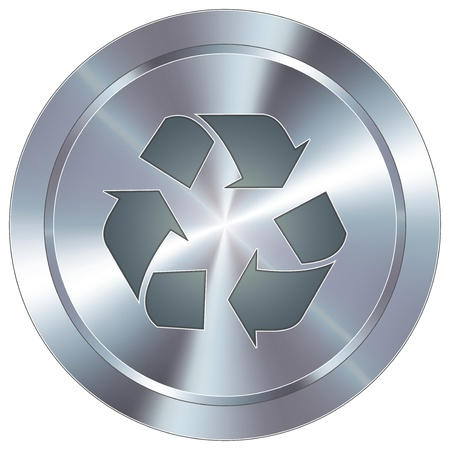 Recycle symbol icon on round stainless steel modern industrial button  Vector