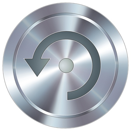 Computer refresh icon on round stainless steel modern industrial button