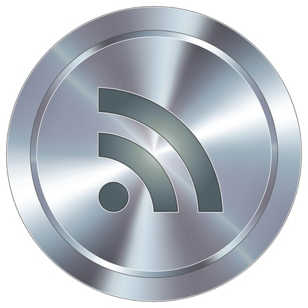 round: RSS feed icon on round stainless steel modern industrial button