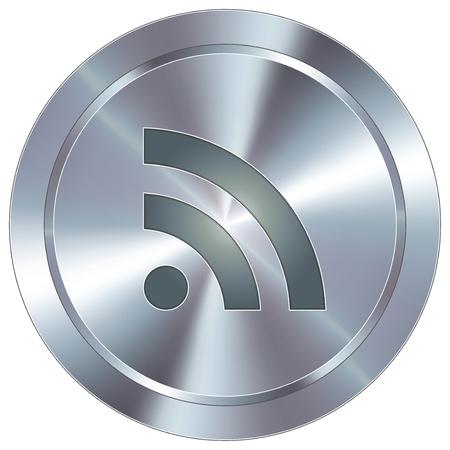 syndication: RSS feed icono de bot�n redondo de acero inoxidable industrial moderno Vectores