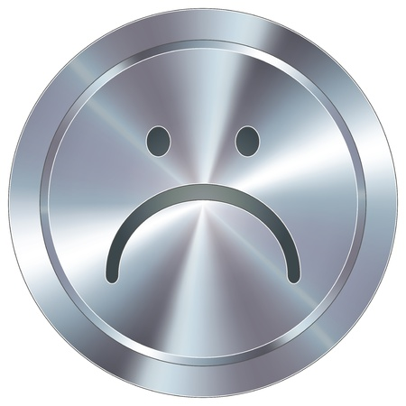 frown: Frown or sad face icon on round stainless steel modern industrial button