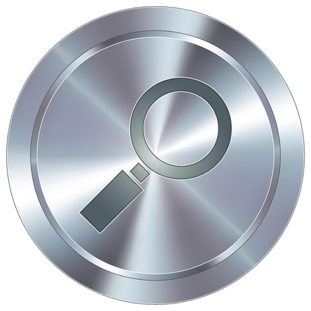 detect: Magnifying glass or enlarge icon on round stainless steel modern industrial button