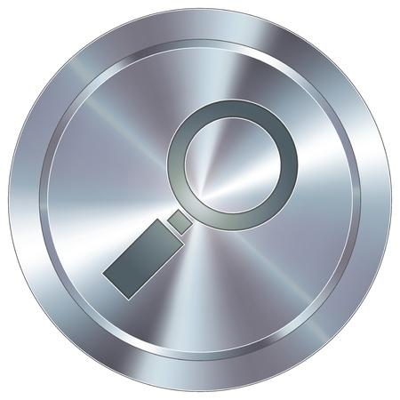 Vergrootglas of vergroten pictogram op ronde roestvrij staal moderne industriële knop