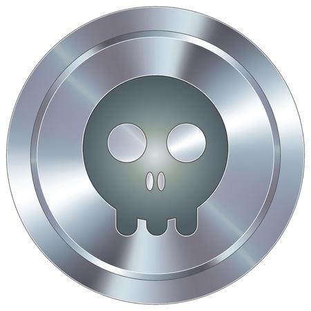 Skull icon on round stainless steel modern industrial button  Illustration