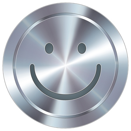 round: Smiley face emoticon icon on round stainless steel modern industrial button  Illustration