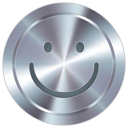 Smileygesichtsiconikone auf modernem industriellem Knopf des runden Edelstahls Standard-Bild - 14666124