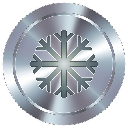 Snowflake or winter icon on round stainless steel modern industrial button