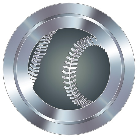 stainless: Baseball sport icon on round stainless steel modern industrial button  Illustration
