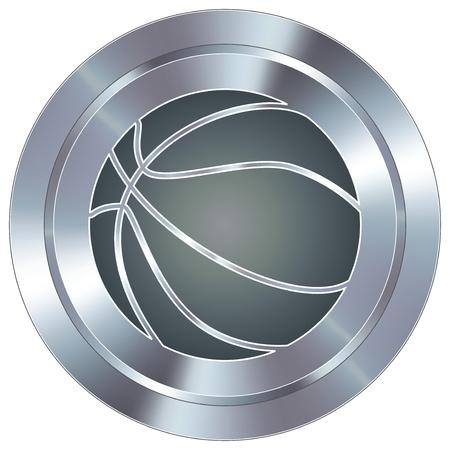Basketball sport icon on round stainless steel modern industrial button  Vettoriali