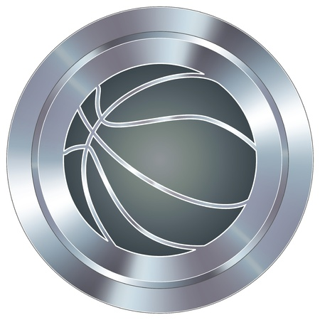 shiny button: Basketball sport icon on round stainless steel modern industrial button  Illustration