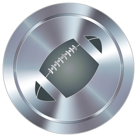 stainless: Football sport icon on round stainless steel modern industrial button