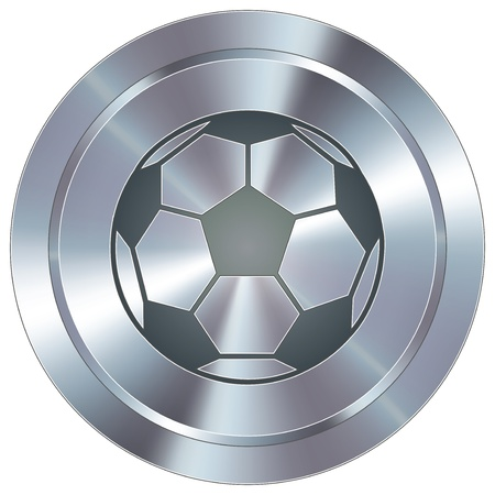 Soccer sport icon on round stainless steel modern industrial button Stock Vector - 14666129
