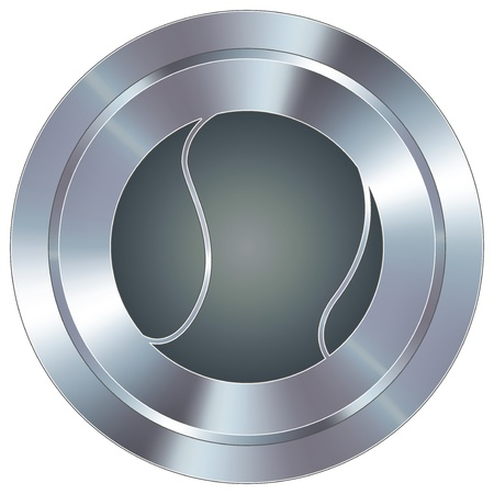 Tennis ball sport icon on round stainless steel modern industrial button Stock Vector - 14666123
