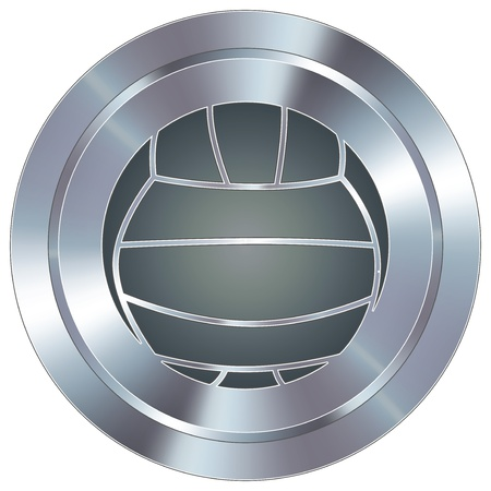 stainless: Volleyball sport icon on round stainless steel modern industrial button