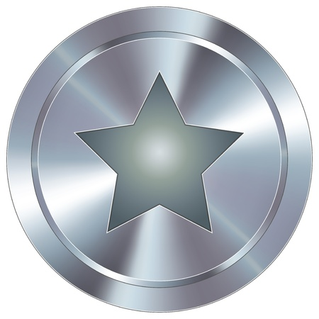 pentagram: Star icon on round stainless steel modern industrial button