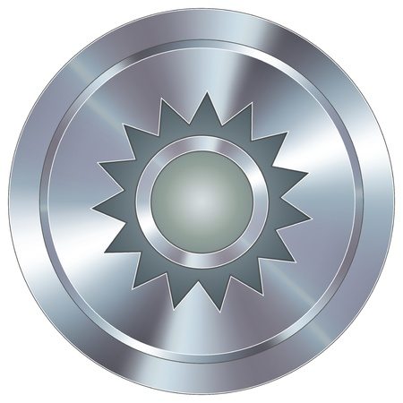 stainless: Sun icon on round stainless steel modern industrial button