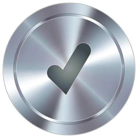 Check mark or yes icon on round stainless steel modern industrial button suitable for use as a website accent, on promotional materials, or in advertisements   Ilustracja