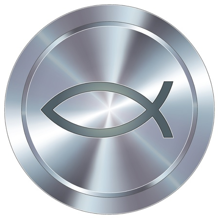 chrome: Christian Jesus fish icon on round stainless steel modern industrial button